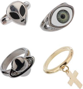 Topman Mixed Metal Symbol Ring Set