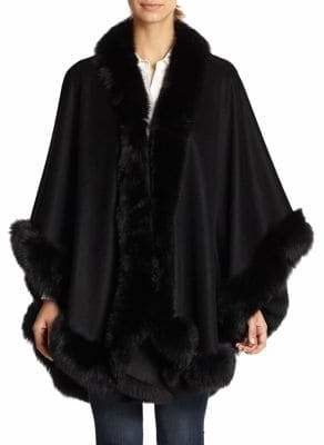 Sofia Cashmere Short Cashmere & Fox Fur Cape