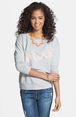 Love By Design 'Merci' Appliqué Sweatshirt (Juniors)