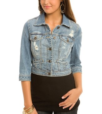 G by Guess Suzy Cropped Denim Jacket