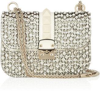 Valentino Glam Lock crystal-embellished leather shoulder bag