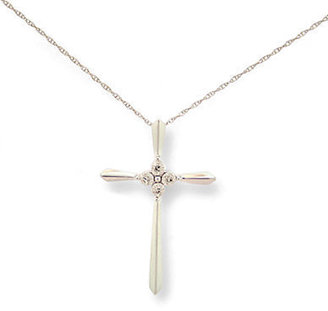 Lord & Taylor 14 Kt. White Gold Cross Necklace with Diamond Accents