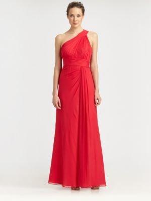 Aidan Mattox Silk One-Shoulder Gown