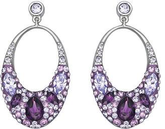 Swarovski Vividness Crystallized Silver-Tone Drop Hoop Earrings