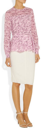 Oscar de la Renta Feather-print silk-chiffon blouse