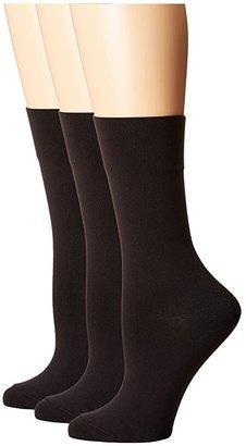 Hue Ultrasmooth Sock 3 Pack (Black) Women's Crew Cut Socks Shoes