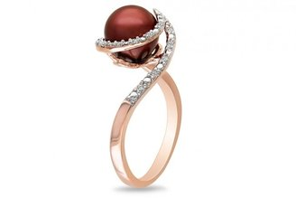 Ice 8-8.5mm Chocolate Freshwater Pearl and 1/10 CT Diamond Sterling Silver Ring