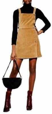 Topshop Buttoned Corduroy Pinafore Dress
