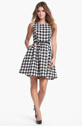 Jessica Simpson Houndstooth Jacquard Fit & Flare Dress