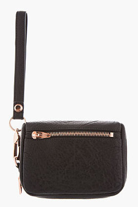 Alexander Wang Black Pebbled Leather Rosegold Large Fumo Wallet