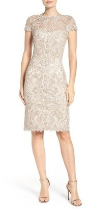 Petite Women's Tadashi Shoji Illusion Yoke Lace Sheath Dress $398 thestylecure.com
