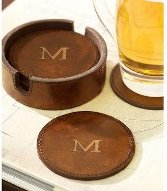 Pottery Barn Saddle Leather Drink Coasters, Set of 6