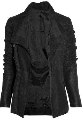 Rick Owens Asymmetric textured-leather biker jacket