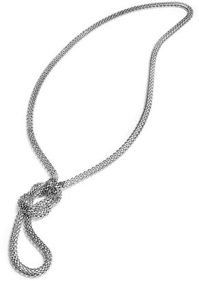 Sequin Necklace, Silver-Tone Knotted Lariat Mesh Necklace