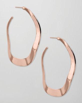 Ippolita Rose Gold Wavy Hoop Earrings
