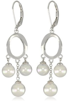 Majorica 7/8mm White 3 Pearls Circle Sterling Silver Drop Earrings