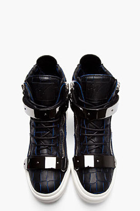 Giuseppe Zanotti Black & navy croc-embossed London high-top sneakers