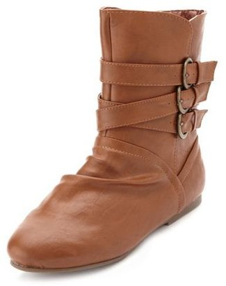 Charlotte Russe Triple Buckle Ankle Bootie