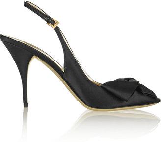 Valentino Bow-embellished satin slingback sandals