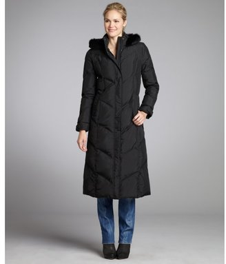 Tahari black quilted rabbit fur trim hooded down coat
