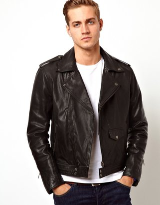Asos Leather Biker Jacket In Slim Fit