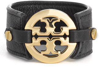 Tory Burch Leather Logo Buckle Bracelet