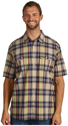 Dockers Big Tall Military Madras S/S Shirt (Faded Navy) - Apparel