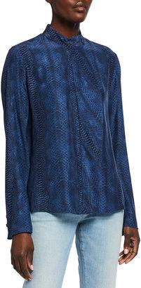 Frame Snakeskin-Print Cravat-Collar Blouse