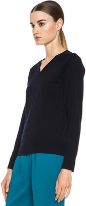 Chloé Cashmere V Neck Sweater in Navy