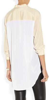 DKNY Color-block stretch-silk crepe de chine tunic
