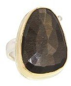 Jamie Joseph Random Faceted Brown Moonstone Ring with Diamond