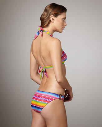 Shoshanna Cozumel Rainbow-Stripe Halter Top