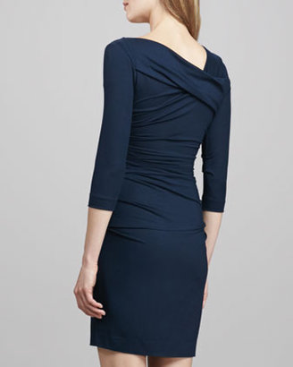 Diane von Furstenberg Bentley Short Ruched Dress, Blackened Blue