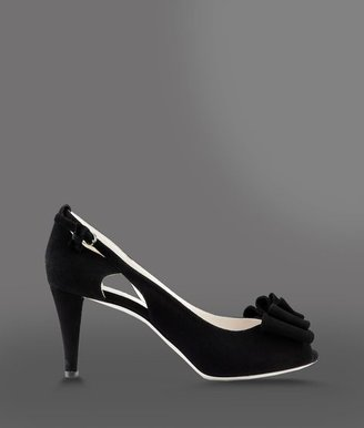Emporio Armani Open Toe Suede Pump With Bow And Side Buckle