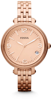 Fossil Heather Mid-Size Three Hand Stainless Steel Watch – Rose