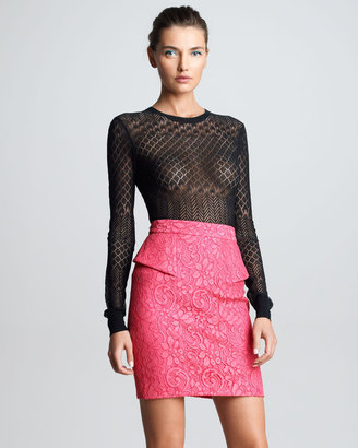 Jason Wu Lace Peplum Skirt, Pink