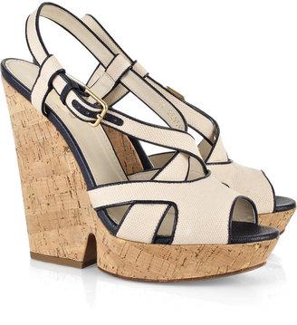 Yves Saint Laurent Deauville canvas wedge sandals