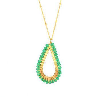 Mabel Chong - Pierced Tear Pendant Necklace-Green Onyx