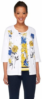 Factory Quacker Floral Print 3/4 Sleeve Knit Twinset
