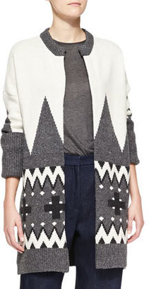 ADAM by Adam Lippes Fair Isle Knit Cardigan Coat, Ivory/Charcoal