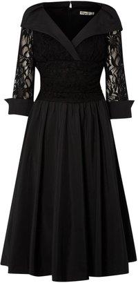 Eliza J Lace detail 3/4 sleeve ruched waist dress