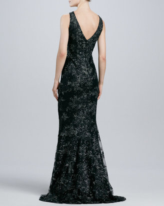 Carmen Marc Valvo Sleeveless V-Neck Lace Gown