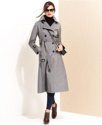 DKNY Hooded Long Trench Coat