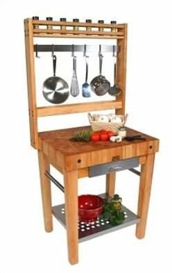 John Boos Cucina Americana Prep Table with Butcher Block Top