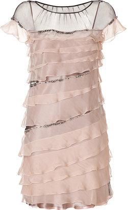 Alberta Ferretti Silk Tiered Dress