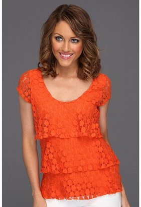 Christin Michaels Taisie Tiered Lace Top (Fresh Orange) - Apparel