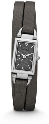 Fossil Delaney Three Hand Leather Watch - Gray