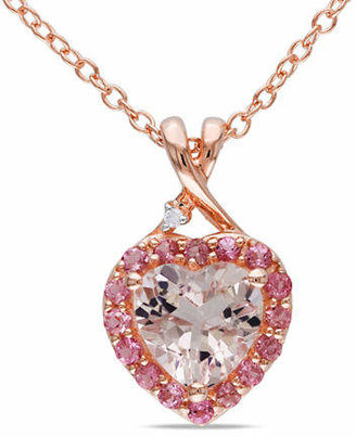 HBC CONCERTO 0.005 TCW Diamond, Morganite and Pink Tourmaline Pinkplated Silver Necklace