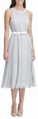 Tommy Hilfiger Duo Dot Chiffon Belted Midi Dress