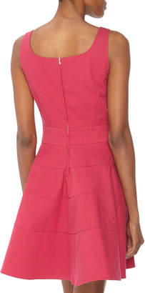 RED Valentino Tiered Twill Fit-And-Flare Dress, Fuchsia